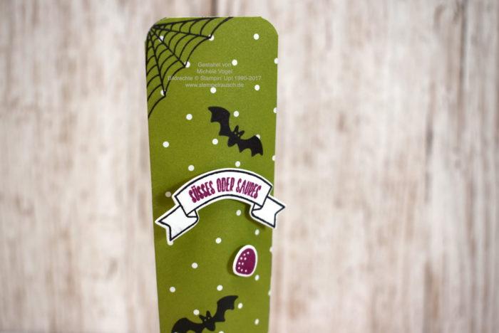 Selbstschließende Box für Schokolade zu Halloween mit dem Stempelset Ein Haus für alle Fälle, Thinlits Zu Hause, DSP Frohes Fest Stampin Up www.stempelrausch.de