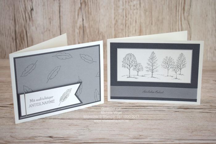 Trauerkarten selber basteln mit Lovely As a tree, Kleine Wünsche, Gänseblümchengruß und In Gedanken bei dir von Stampin' Up! www.stempelrausch.de