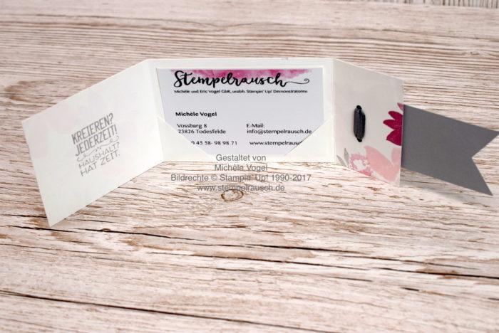 Visitenkartenhalter für eine Visitenkarte basteln mit den Stempelsets Kreiert mit Liebe und Durch die Blume und der Fähnchenstanze von Stampin' Up! www.stempelrausch.de