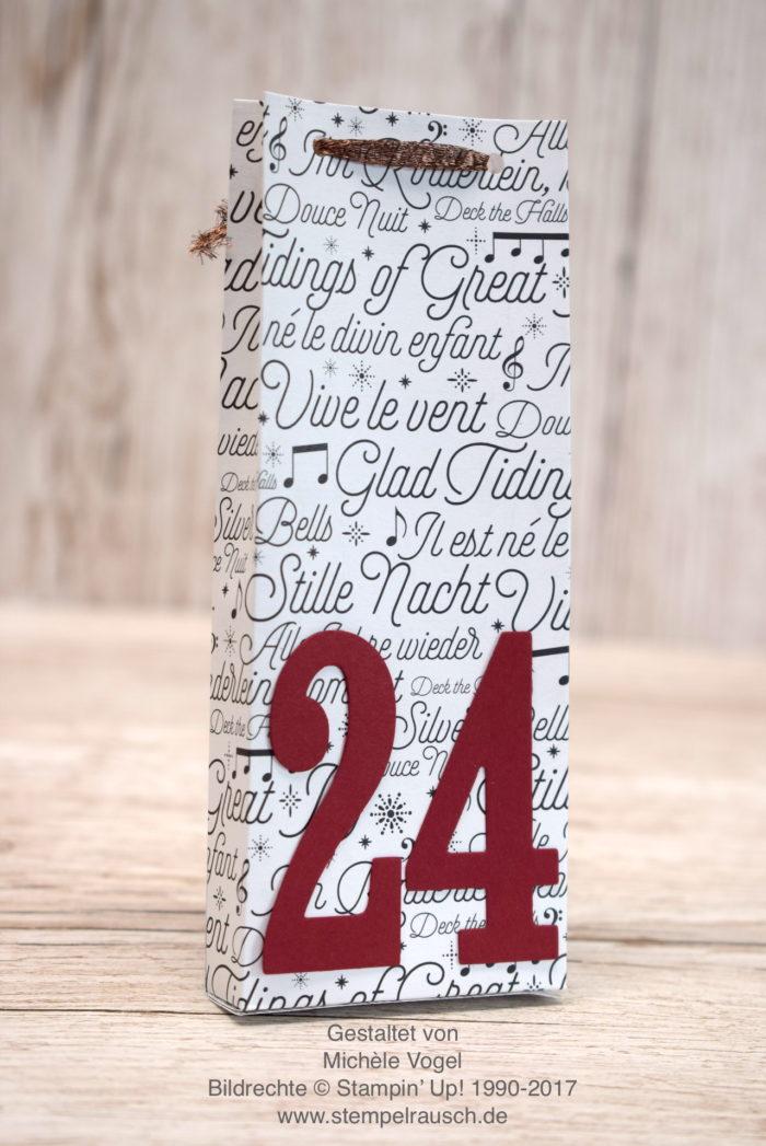 Adventskalender oder Nikolaus Verpackung, Geschenkverpackung zu Weihnachtenselber basteln mit Stampin' Up! Stempelset Ausgestochen Weichnachtlich, Framelits Große Zahlen, Designerpapier Weihnachtslieder, Elementstanze Lebkuchenmännchen, Rückseite www.stempelrausch.de