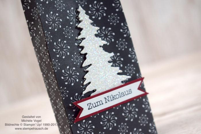 Adventskalender oder Nikolaus Verpackung selber basteln mit Stampin' Up! Stempelset Kleine Wünsche, Designerpapier Weihnachtslieder, Thinlits Festtagsdesign, Glitzerpapier, Tannenbaum, Weihnachtsbaum, Geschenkverpackung zu Weihnachten www.stempelrausch.de