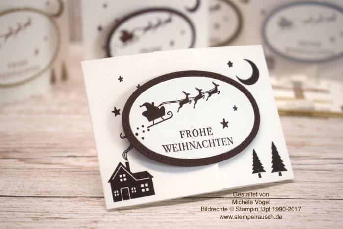 Gutscheinverpackung zu Weihnachten mit dem Stempelset Weihnachten daheim von Stampin' Up! in Flüsterweiß und Espresso www.stempelrausch.de