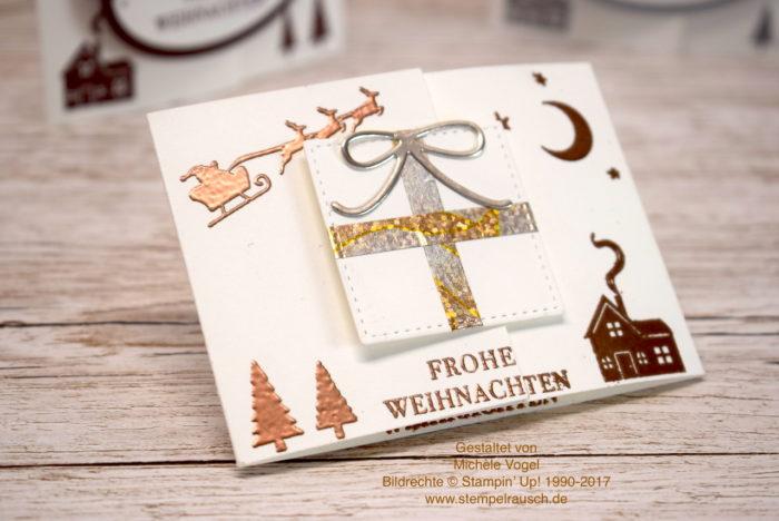 Gutscheinverpackung zu Weihnachten mit dem Stempelset Weihnachten daheim, Framelits Stickmuster und Thinlits Mini-Leckereientüte von Stampin' Up! in Flüsterweiß und Kupfer www.stempelrausch.de