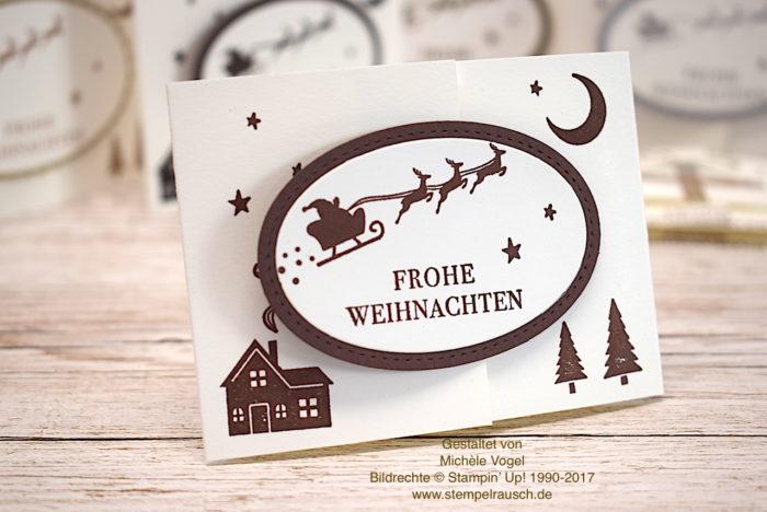 Gutscheinverpackung zu Weihnachten mit dem Stempelset Weihnachten daheim von Stampin' Up! in Flüsterweiß und Schokobraun www.stempelrausch.de