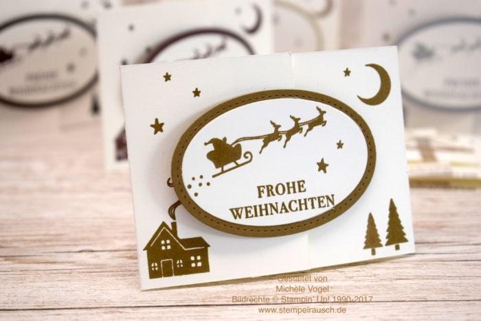 Gutscheinverpackung zu Weihnachten mit dem Stempelset Weihnachten daheim von Stampin' Up! in Flüsterweiß und Wildleder www.stempelrausch.de