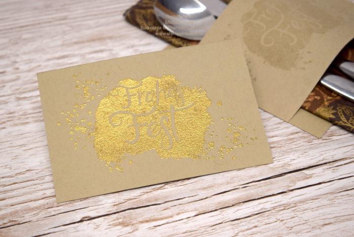 heißgeprägt in Gold, Bestecktasche basteln zu Weihnachten schnell und einfach mit Stampin' Up! www.stempelrausch.de