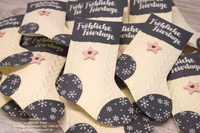 Pillow Box - Thinlits Formen Geschmueckte Stiefel, Edgelits Winterstaedtchen und Praegeform Zopfmuster von Stampin' Up! www.stempelrausch.de
