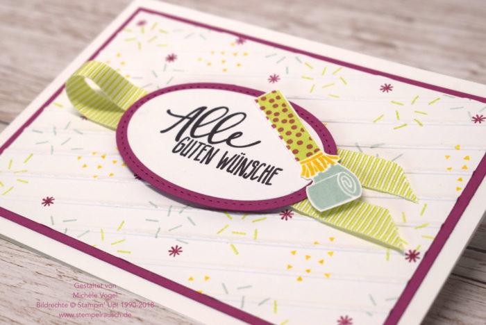Geburtstagskarte mit dem Stempelset Perfekter Geburtstag und Prägeform Schlichte Streifen von Stampin Up www.stempelrausch.de