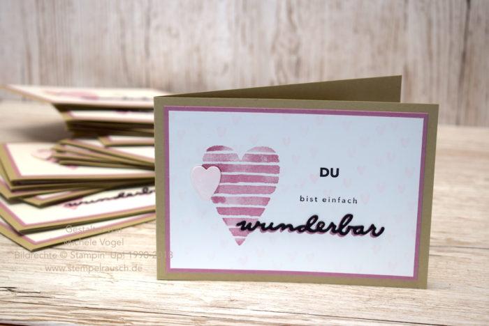 Grusskarte Du bist einfach wunderbar , Stempelset Happy Hearts, Einfach wunderbar, Thinlits Wunderbar, Stampin Up, Sale-A-Bration, Swap 4.0 Teamtreffen Stempeline Januar 2018 www.stempelrausch.de