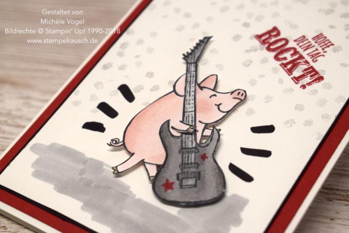 Rockiges Schwein mit dem Stempelset Glücksschweinchen und Echt cool aus der Sale-A-Bration 2018 von Stampin' Up! www.stempelrausch.de