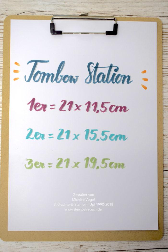 Papiermaße, Maße Farbkarton - Tombow Station basteln mit Produkten von Stampin' Up! in 3 verschiedenen Größen www.stempelrausch.de