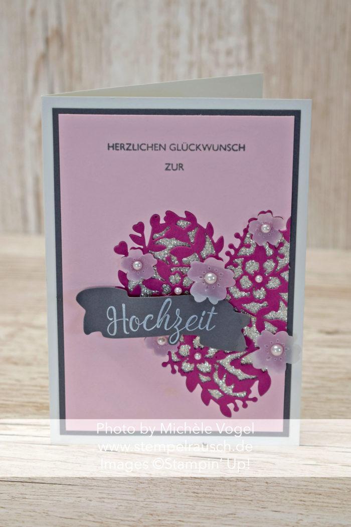 Hochzeitskarte mit Thinlits Blühendes Herz und Schachtel voller Liebe sowie Stempelset Segensfeste von Stampin' Up! www.stempelrausch.de