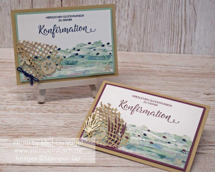 Maritime Konfirmationskarten Mädchen und Junge, Produktreihe Traum vom Meer, Stempelset Segensfeste_Stampin' Up! www.stempelrausch.de