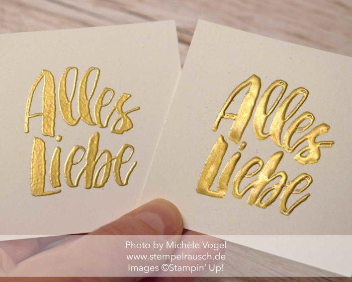 Embossing XXL Stampin' Up! Stempelset Kraft der Natur in Gold geprägt www.stempelrausch.de