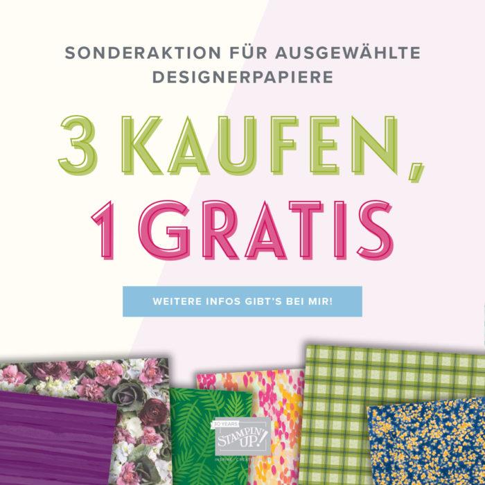 Designerpapier-Angebot, 3 kaufen, 1 gratis vom 01.07.-31.07.2018