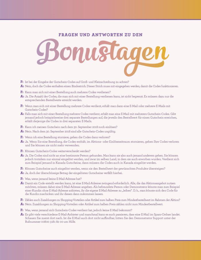 Fragen und Antworten zu den Bonustagen von Stampin' Up! www.stempelrausch.de