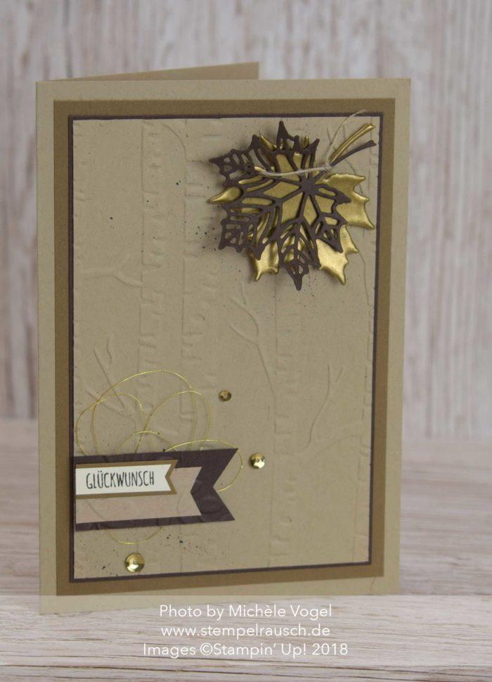 Glückwunschkarte Thinlits Aus jeder Jahreszeit, Prägeform Im Wald, Blätterstanzen Stampin' Up! www.stempelrausch.de