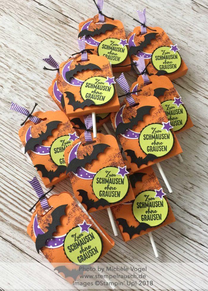 Halloween Lolli Verpackung mit dem Stempelset Unheimlich Lecker und mit der Stanze Gewellter Anhänger von Stampin' Up! www.stempelrausch.de