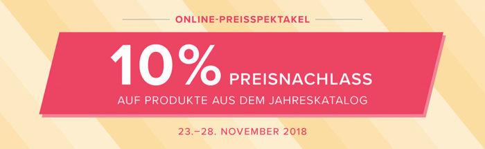 Online-Preisspektakel vom 23.-28.11.2018, 10% Rabatt auf ausgewählte Produkte aus dem Jahreskatalog 2018-2019 von Stampin' Up! www.stempelrausch.de