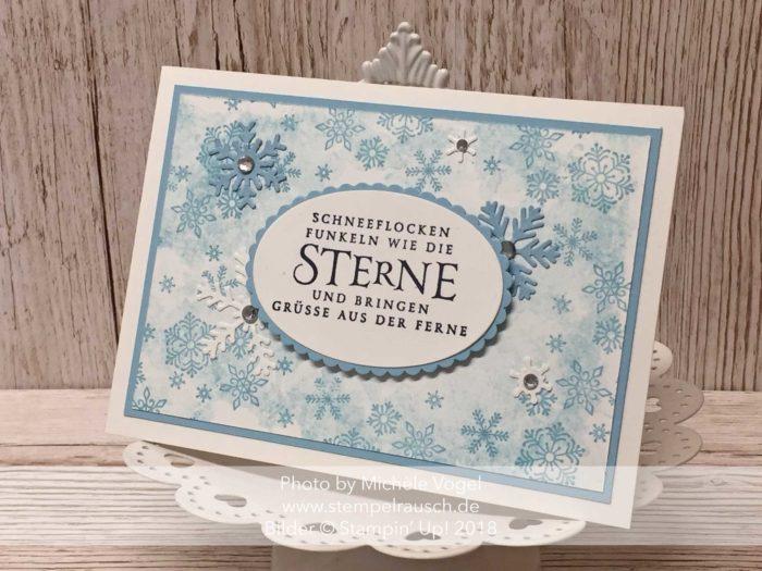 Weihnachtskarte mit dem Stempelset Flockenfantasie, Thinlits Form Schneezauber, Framelits Lagenweise Ovale und Glanzfarbe von Stampin' Up! www.stempelrausch.de