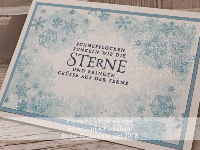 Weihnachtskarte für Anfänger mit dem Stempelset Flockenfantasie und Glanzfarbe von Stampin' Up! www.stempelrausch.de