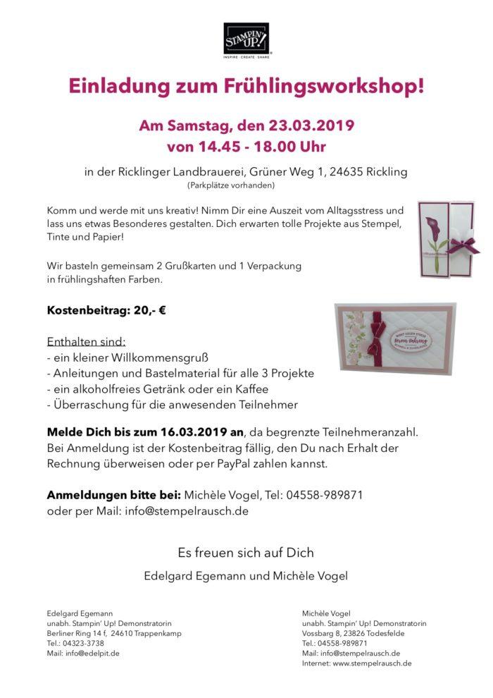 Frühlingsworkshop am 23.03.2019 in der Ricklinger Landbrauerei in 24635 Rickling www.stempelrausch.de