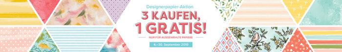 Designerpapier-Aktion 2019: 3 kaufen, 1 gratis von Stampin' Up! www.stempelrausch.de