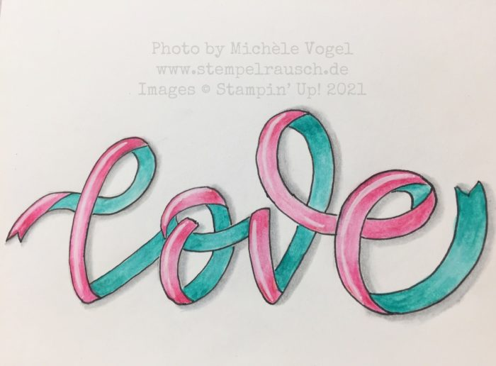 Ribbon Lettering mit Aquarellstiften